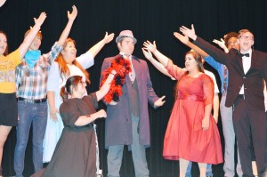 """Nederland High School students rehearse their summer musical """"Curtains,"""" which runs this weekend, in the NHS Performing Arts Center Tuesday."""