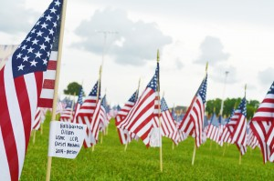 The third annual Field of Honor boasts 1,000 flags tagged for both active military personnel and veterans during the fourth annual Fireworks Extravaganza Fourth of July celebration at Doornbos Heritage Park in Nederland Saturday.
