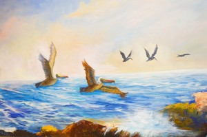 """Pelicans in Flight"" is one of many seascapes hanging in the Founders Gallery this month by Groves artist Barbara Haviland at the Texas Artists Museum in Port Arthur."