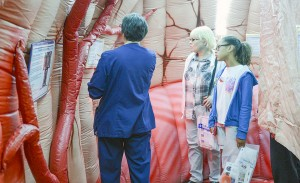 The Medical Center featured a massive inflatable brain that people could walk through during its community heart health fair Wednesday.