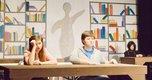 """Resa Pletcher, left, Ross Lefort and Emelie Sullivan practice their roles as a princess, an athlete and a basket case in detention during a dress rehearsal for the Port Arthur Little Theatre Junior Board's production of """"The Breakfast Club"""" at the Little Theatre Wednesday night."""