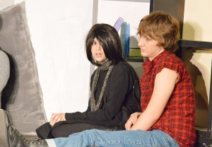 """Emelie Sullivan, left, and Jason Blevins practice their roles as Allison Reynolds and John Bender during a dress rehearsal for the Port Arthur Little Theatre Junior Board's production of """"The Breakfast Club"""" at the Little Theatre Wednesday night."""
