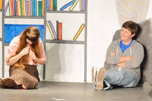 """Resa Pletcher, left, and Ross Lefort practice their roles as Claire Standish and Andrew Clark during a dress rehearsal for the Port Arthur Little Theatre Junior Board's production of """"The Breakfast Club"""" at the Little Theatre Wednesday night."""