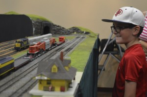 Caden Hall, 8, checks out the trains.  Mary Meaux/The News