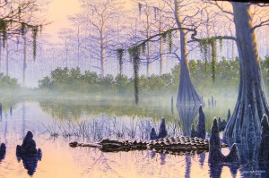 "A detail of ""Cypress Sunrise,"" an acrylic painting of an American alligator, by artist John Agnew. The Museum of the Gulf Coast is showcasing Agnew's ""Crocodilian Scratchboards"" exhibit in conjunction with its ""Ragin' Reptiles"" Family Fun Day on Saturday."