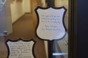 Paper badges show support of Port Neches Police officers.   Mary Meaux/The News