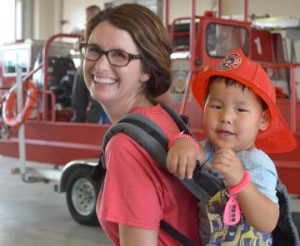 Jolie Williams and her son, Hudson Williams, 3, of Norman, Okla. were in town visiting family and stopped by the Port Neches Fire Department's Open House on Thursday. Mary Meaux/The News