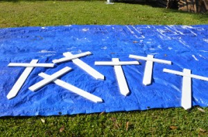 Completed crosses outside Boneaux's Nederland home. Mary Meaux/The News
