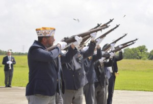 Members of the Veterans of Foreign Wars Post. No. 4820 rifle squad perform the memorial firing of the rifles during the Memorial Day Celebration at Golden Triangle Veterans Memorial Park in Port Arthur on Monday.
