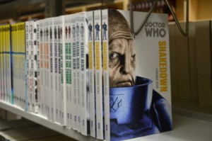 A section of books from the Dr. Who series.