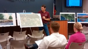 Bill Worsham, director of Coastal Engineering, shows different development scenarios for the riverfront in Port Neches during the Port Neches Riverfront Planning and Design Public Input Meeting at city hall on Tuesday. Mary Meaux/The News