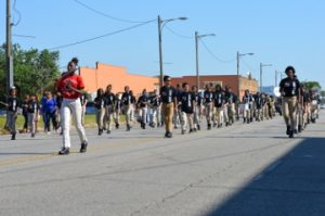 The Lincoln Middle School band marches in the parade. Mary Meaux/The News