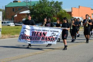 The Thomas Jefferson Middle School band makes their way down Procter Street during the parade. Mary Meaux/The News