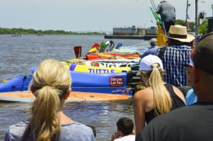 Formula 1 boats line up before the race during Thunder on the Neches powerboat races during Port Neches RiverFest.