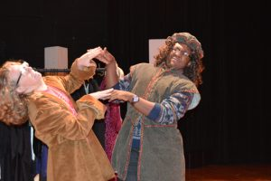 """Ty Riddell and William Ntsoane have a slap fight in character for """"The Complete Works of William Shakespeare, Abridged/Revised/Edited."""" (Lorenzo Salinas/The News)"""