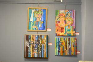 Artwork by Arnie Hernandez hangs at TAMs concept gallery. Mary Meaux/The News