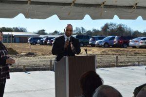 PAISD Superintendent Dr. Mark Porterie speaks at groundbreaking event at Sam Houston Tuesday morning. (Lorenzo Salinas/The News)