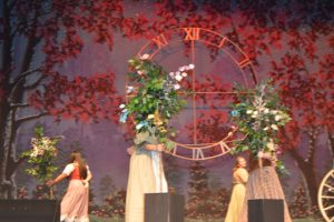 Cast members enact magical trees to magically dance during one a rehearsal scene. (Lorenzo Salinas/The News)